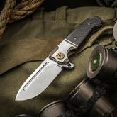 Andre De Villiers Knives Customized Mini Pathfinder Flipper 3.25 inch S35VN Satin Drop Point Blade, Titanium Handles with Lightning Strike Carbon Fiber Inlays
