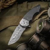 Butch Ball Custom Skorpion M Flipper 3.125 inch Alabama Damascus Blade, Carbon Fiber Handles with Damascus Bolsters
