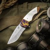 Butch Ball Custom Skorpion M Flipper 3.125 inch Hugin Damasteel Blade, Mother of Pearl Handles with Timascus Bolsters