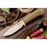 Bark River Knives Ultra-Lite Hunter 1 Fixed 3.5 inch A2 Tool Steel Blade, Green Canvas Micarta Handles, Leather Sheath
