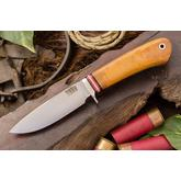 Bark River Knives Ultra-Lite Hunter 1 Fixed 3.5 inch A2 Tool Steel Blade, Natural Canvas Micarta Handles, Leather Sheath