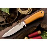 Bark River Knives Ultra-Lite Hunter 2 Fixed 4.125 inch A2 Tool Steel Blade, Natural Canvas Micarta Handles, Leather Sheath