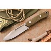 Bark River Knives Springbok II Fixed 3.3775 inch CPM-3V Blade, Green Canvas Micarta Handles, Leather Sheath