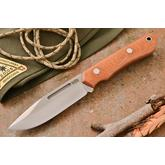 Bark River Knives Springbok II Fixed 3.3775 inch CPM-3V Blade, Natural Canvas Micarta Handles, Leather Sheath
