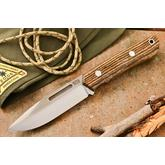 Bark River Knives Springbok II Fixed 3.3775 inch CPM-3V Blade, Bocote Wood Handles, Leather Sheath