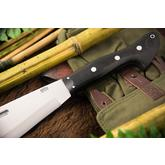 Bark River Knives Barong Fixed 16.5 inch A2 Tool Steel Blade, Black Canvas Micarta Handles, Leather Sheath