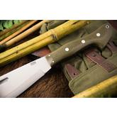 Bark River Knives Barong Fixed 16.5 inch A2 Tool Steel Blade, Green Canvas Micarta Handles, Leather Sheath
