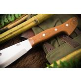 Bark River Knives Barong Fixed 16.5 inch A2 Tool Steel Blade, Natural Canvas Micarta Handles, Leather Sheath