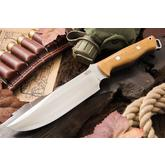 Bark River Knives Bravo Survivor Fixed 7.125 inch CPM-3V Blade, Antique Ivory Micarta Handles, Leather Sheath
