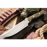 Bark River Knives Bravo Survivor Fixed 7.125 inch CPM-3V Blade, Green Canvas Micarta Handles, Leather Sheath