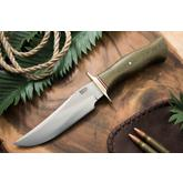 Bark River Knives Vest Pocket Bowie Model D Fixed 5.5 inch A2 Tool Steel Blade, Green Canvas Micarta Handle, Leather Sheath