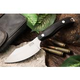 Bark River Knives JX6 Companion Fixed 3.675 inch A2 Tool Steel Blade, Black Canvas Micarta Handles, Leather Sheath