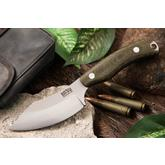 Bark River Knives JX6 Companion Fixed 3.675 inch A2 Tool Steel Blade, Green Canvas Micarta Handles, Leather Sheath