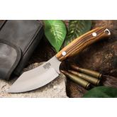 Bark River Knives JX6 Companion Fixed 3.675 inch A2 Tool Steel Blade, Bocote Wood Handles, Leather Sheath