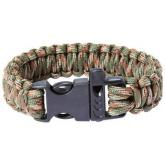 Maxam 9 inch Army Green Camo Paracord Bracelet, Whistle Buckle