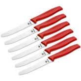 Boker 6 Piece Serrated Sandwich/Bread Knife Set, Red Synthetic Handles, Gift Box
