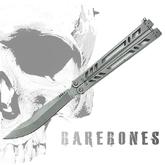 Bladerunners Systems Barebones Bali-Song Butterfly, Clip Point Blade, Skeletonized Stainless Steel Handles