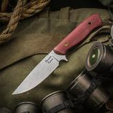 Craig Camerer Custom Outback Hunter Fixed 3.875 inch Elmax Stonewashed Blade, Red Linen Micarta Handles, Leather Sheath