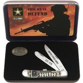 Case US Army Embellished Smooth Natural Bone Trapper in Jewel Box 4-1/8 inch Closed (6254 SS)