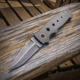 Chad Nell Custom NYF Flipper 3.05 inch AEB-L Acid Washed Blade, Milled Titanium Handles with Copper Fittings