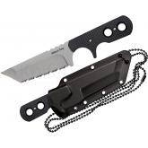Cold Steel 49HTFS Mini Tac Tanto Fixed 3-3/4 inch Serrated Blade with Sheath