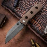 Tim Curry Custom V2 Venator Folding Knife 3.25 inch Thomas Herringbone Damascus Blade, Bronze Titanium Handles, Zirconium Thumb Stud