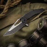 Custom Knife Factory Michal Gavac Gavko SF Spinner Flipper 3.54 inch M390 Two-Tone Blade, Milled Titanium Handles