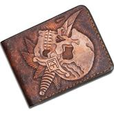 Custom Knife Factory Handmade Leather Wallet, Skull and Jaguar