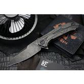 Custom Knife Factory Alexey Konygin T92 Flipper 3.75 inch M390 Black Stonewashed Blade and Milled Titanium Handles