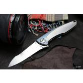 Custom Knife Factory Anton Malyshev Tegral Flipper 3.66 inch M390 Plain Blade, Integral Titanium Handle