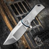 Darrel Ralph Designs Custom Dominator 35 Flipper 3.5 inch CPM-154 Satin Blade, Blue Two-Tone Titanium Handles