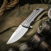 Darrel Ralph Designs Custom Dominator 35 Flipper 3.5 inch CPM-154 Satin Blade, Battle Worn Titanium Handles with Fullers
