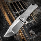 Darrel Ralph Designs Custom Dominator 35 Flipper 3.5 inch CPM-154 Satin Blade, Battle Worn Titanium Handles
