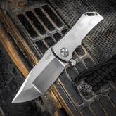 Darrel Ralph Designs Custom Dominator 35 Flipper 3.5 inch CPM-154 Satin Blade, Dual Finished Titanium Handles