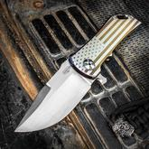 Darrel Ralph Designs Custom Dominator 35 Flipper 3.5 inch CPM-154 Satin Blade, Patriot American Flag Titanium Handles