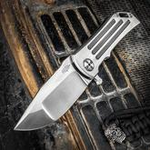 Darrel Ralph Designs Custom Dominator 35 Flipper 3.5 inch CPM-154 Satin Blade, Polished Titanium Handles with Fullers