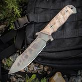 Dawson Knives Custom Desert Strike 5 Fixed 5.5 inch 80CrV2 Sandstone Cerakote Blade, Tan Micarta Handles, Highlander Kryptec Kydex Sheath