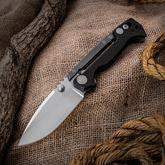 Andrew Demko Custom AD15 Folding Knife 3.75 inch CPM-20CV Satin Blade, Textured Carbon Fiber and Titanium Handles