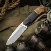 JD van Deventer Custom JDLOV Fixed 4.125 inch N690 Two-Tone Blade, Black G10 and Thunderstorm Kevlar Handles, Leather Sheath