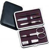 DOVO 5-Piece Manicure Set in Black Leather Case