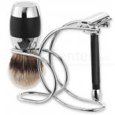 Merkur 3 Piece Razor Shave Set, Polished Chrome Plated Safety Razor, Shaving Brush and Stand