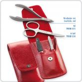 DOVO 4-Piece Cuticle Nipper and Nail Scissor Set in Elegant Red Cowhide Leather Case