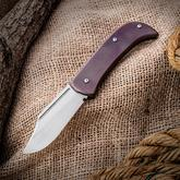 Alphahunter/Dragoncut Design Custom Captain Jack Slipjoint Folder 2.875 inch CTS-XHP Clip Point Blade, Purplish-Bronze Titanium Handles