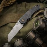 Brian Fellhoelter/SK Knives Custom Confluence Collaboration Folding Knife 3.375 inch CPM-154 Wharncliffe Blade, Marble Carbon Fiber and Titanium Handles