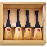 Flexcut 4-Piece Wide-Format Palm Set, 4 Different Style Blades, Ash Wood Handles, Storage Box