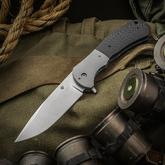 Aaron Frederick Custom FS-1 Frame Lock Flipper 4 inch CPM-154 Drop Point Blade, Carbon Fiber Handle with Titanium Bolster