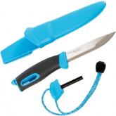 Morakniv Mora of Sweden/Light My Fire Blue FireKnife 3-5/8 inch Stainless Steel Blade, Blue Rubber Handle, Fire Starter