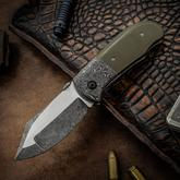 Chuck Gedraitis Custom Medium Puffin Folding Knife 3.125 inch CPM-154 Two-Tone Duplex Blade, OD Green Micarta Handles with Damascus Bolsters, Zirconium Clip