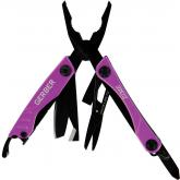 Gerber Dime Keychain Multi-Tool 2.3 inch Closed, Purple Stainless Steel Handles