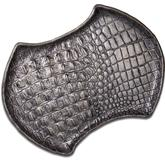 Greg Everett Handcrafted Custom Gator Stamped Leather Valet Tray 11.5 inch X 8.5 inch Rustic Charcoal Finish